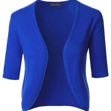 Soft Knit Short Sleeve Open Front Bolero Cardigan