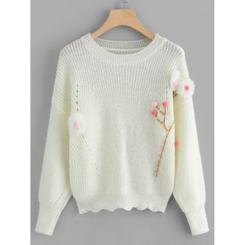 Pom-Pom Detail Scallop Hem Sweater