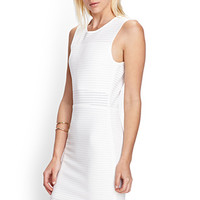 FOREVER 21 Perforated Knit Dress Cream