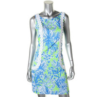 Lilly Pulitzer Womens Cotton Embroidered Casual Dress