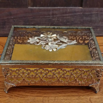 Vintage Gold Toned Filigree Footed Flower Trinket Box With Glass Top and Padded Velvet Bottom Perfect for Display