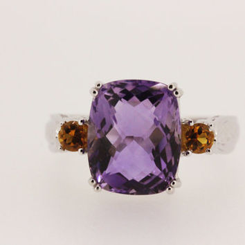 Amethyst Ring Cushion Cut Ring 14k White Gold Ring Antique Inspired Ring Citrine Ring Cocktail Ring Gemstone Ring Size 7