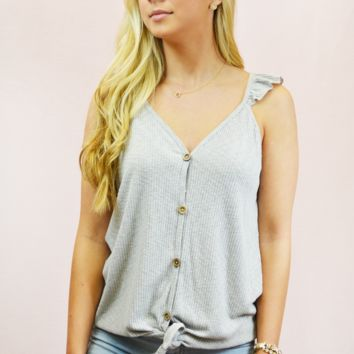 Knit Button Front Tank - H. Grey