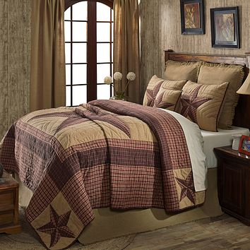 Landon - California King - Patchwork Quilt and Shams Set - Stars, Checks, Plaids - Red, Brown, Khaki - Rustic Country