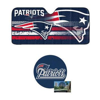 Licensed Official NFL New England Patriots Car Truck Windshield Folding SunShade &Perforated Decal