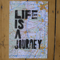 Life Is A Journey On A Recycled Atlas Page by nikimilns on Etsy