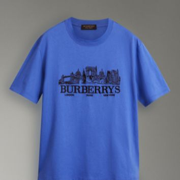 Burberry blue short sleeve top blouse embroidery T-shirt