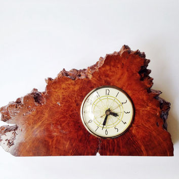 Vintage burl wood clock