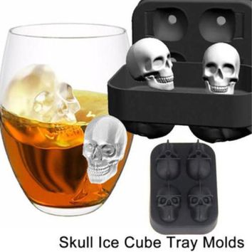 Halloween Skull Shape 3D Ice Cube Mold Maker Bar Party Silicone Trays Chocolate Mold Gift Ice Cream Tools