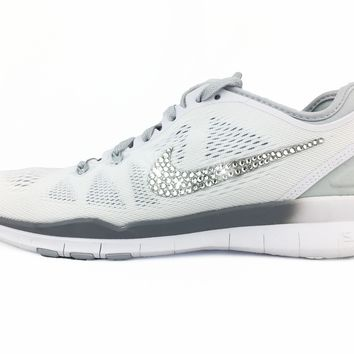 CLEARANCE - Nike Free 5.0 TR Fit 5 - Crystallized Swarovski Swoosh - White/Silver