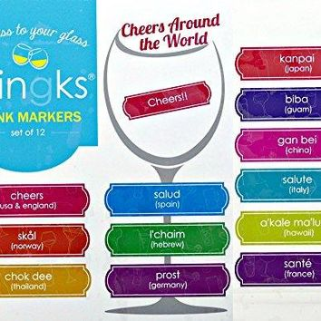 Clingks 12 Drink Markers  CHEERS AROUND THE WORLD  Fun Alternative to Wine Charms