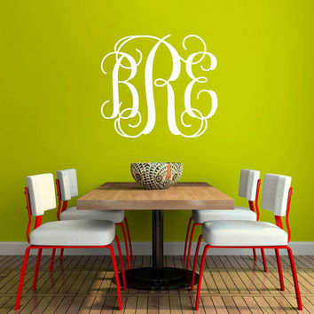 Monogram Wall Decal - Fancy Initials Wall Decal - Large Personalized Wall Decal - Monogram Wall Decal - Newlywed Decal - Just Married - ND19