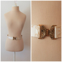 Vintage 60s Midcentury Gold Brocade Belt with Bronze Buckle