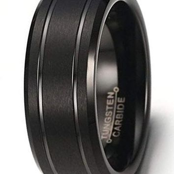 CERTIFIED 8mm Men's Black Tungsten Wedding Band Ring Comfort Fit With Matte Finish