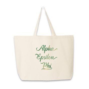 Sorority Name in Watercolor Stylized Script Tote Bag - All 26 NPC Organizations Available