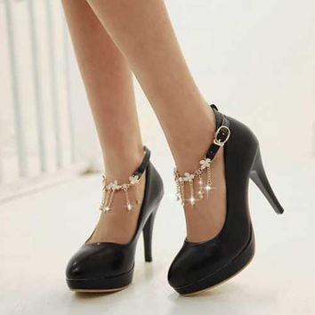 Elegant Round Toe High-heeled Shoes Fashion Rhinestone Chain Ankle Strap Summer Pumps Women's Wedding Party Shoes