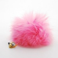 p2s88 Pink Faux Fur Headphone Plug Dust Protector Charm for any Wireless Device with 3.5mm Headset Jack