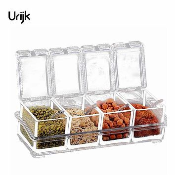 Urijk Acrylic Table Spice Set Seasoning Box Spice Jar Bottle Condiment Storage Jar Seasoning 4PCs/set Condiment Kitchen Supplies