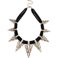 Black oversized arrowhead statement necklace