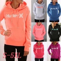 Long Sleeve Letter Printing Women Fleece Hoodie Pocket Cotton Casual Sport Student Hoodie [8834060108]
