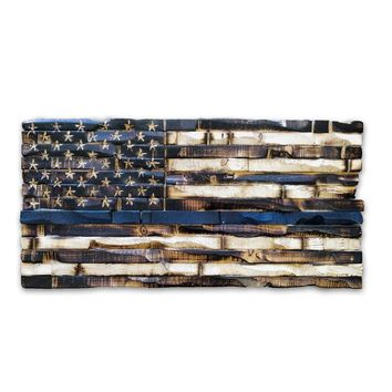 Wood Thin Blue Line Flag (American Police Flag) 17x9