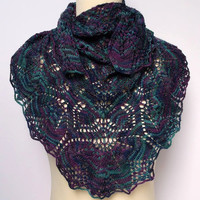 Women's hand knitted hand dyed luxury lace shawl / shawlette. OOAK Purple and green shades.