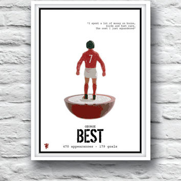 MANCHESTER UNITED, George Best, Quote Poster, Old Trafford, Minimalist Poster, Wall Decor, Football Legends