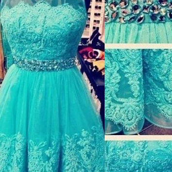 Lace Beading Short Homecoming Dress