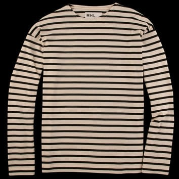 UNIONMADE - MHL Margaret Howell - Naval Stripe Jersey Long Sleeve Matelot Tee in Ecru and Black