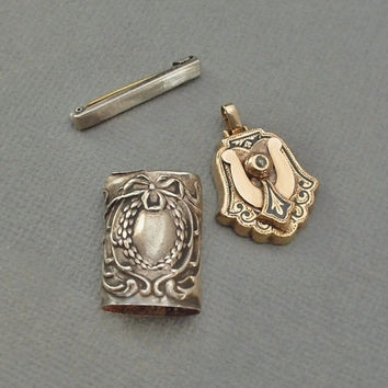 ANTIQUE Jewelry Victorian Pendant, Edwardian Sterling Match Safe Repousse, Art Deco Sterling Beauty Bar Pin LOT Restoration PARTS c.1890s