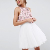 ASOS Embellished Crop Top Mini Dress with Tulle Skater at asos.com