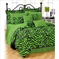 Zebra Print Bed in a Bag - Lime Green/Black Queen