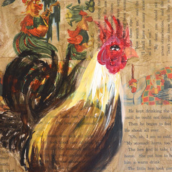 rooster art, rooster wall art, rooster decor, rooster, rooster kitchen, rooster painting, rooster print, rooster art print