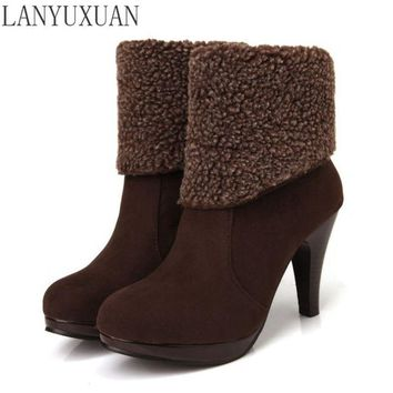 2016 Winter Boots 34-39 Fashion Thin Heel Boots With Buckle And Made Of Qualityl Women Round Toe Shoes warm sonw boots 109
