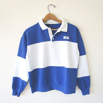Vintage NSA Retro Rugby Collar Embroidered Striped COLORBLOCK 50/50 Blend Sweatshirt Pullover Sz Small