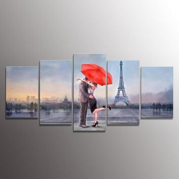 Holiday gift Canvas Prints Love in Paris 5 Panels Oil Painting Print Wall Art Stretched and Framed Home Decor Modular Pictures