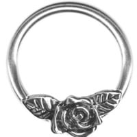 16 gauge Earring-One 16g 1/2 inch Rose Flower Captive Ring-Rose w/Leaves Flower Cartilage Earring