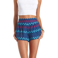 PLEATED CHEVRON PRINT HIGH-WAISTED SHORTS