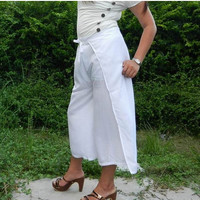 25% OFF Sensual String Tie Capri Pants (Wrap pants) ..Loose And Comfy, Rayon In White.