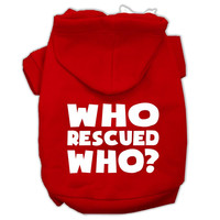 Who Rescued Who Screen Print Pet Hoodies Red Size Med (12)