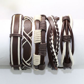 5 Piece Handmade Leather Bracelet Set Men's Leather Bracelet Women's Braided Leather Wrap Braclet  BST-393