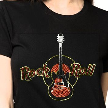 Women's Rock and Roll  Guitar Bling Rhinestones T-Shirt""