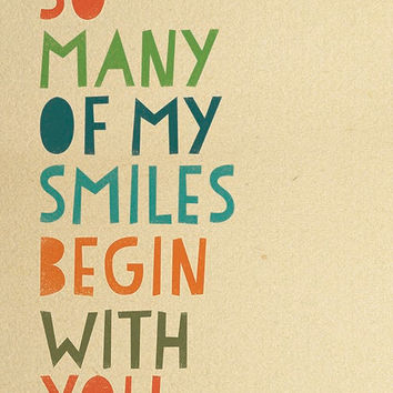 So many of my smiles begin with you / Baby Nursery Art Print / Wall Decor