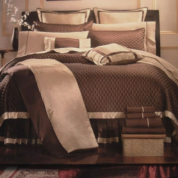 12pc PA. Chocolate  Quilt-Includes 600TC Sheet Set! Size: Queen Sheet Set Color: Navy