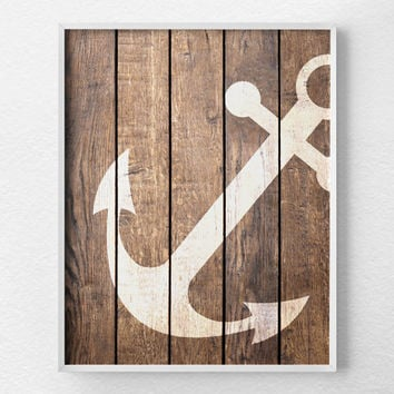 Nautical Anchor Art, Anchor Decor, Nautical Bathroom, Rustic Nautical Print, Anchor Print, Nautical Decor, Nautical Nursery, Beach Art, 0285