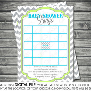 Instant Download Boy Baby Shower Bingo Card - Chevron, Green, Blue, Printable, Digital