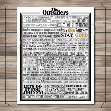 The Outsiders Movie Quotes Print // Typography Print // Movie Quotes // Quote Collage // Word Art // Outsiders Art Print // Print Only