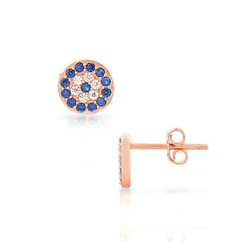 Sterling Silver Rose Gold-Tone White Blue Crystals Evil Eye Small Stud Earrings