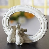 Rabbit Pair Freestanding Mirror -- 8-1/2-in