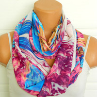 Pink,Blue White scarves,Infinity Scarves,Loop Scarf,Circle Scarf,Chiffon Scarf,Cowl Scarf,Nomad Cowl.... Multicolor, eternity Scarf